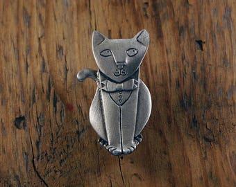 Dinner Jacket Cat Brooch