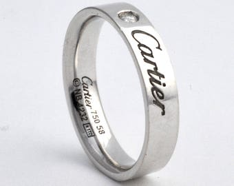 Christmas ring: Cartier Signature Ring with Diamond 750 58  18K White Gold