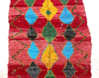 Berber folkloric charm to any space , Boucherouite rug , rag