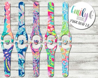 Lilly Pulitzer Inspired Disney Magic Band 2.0 Decal or Skin | Custom Waterproof MagicBand Wrap