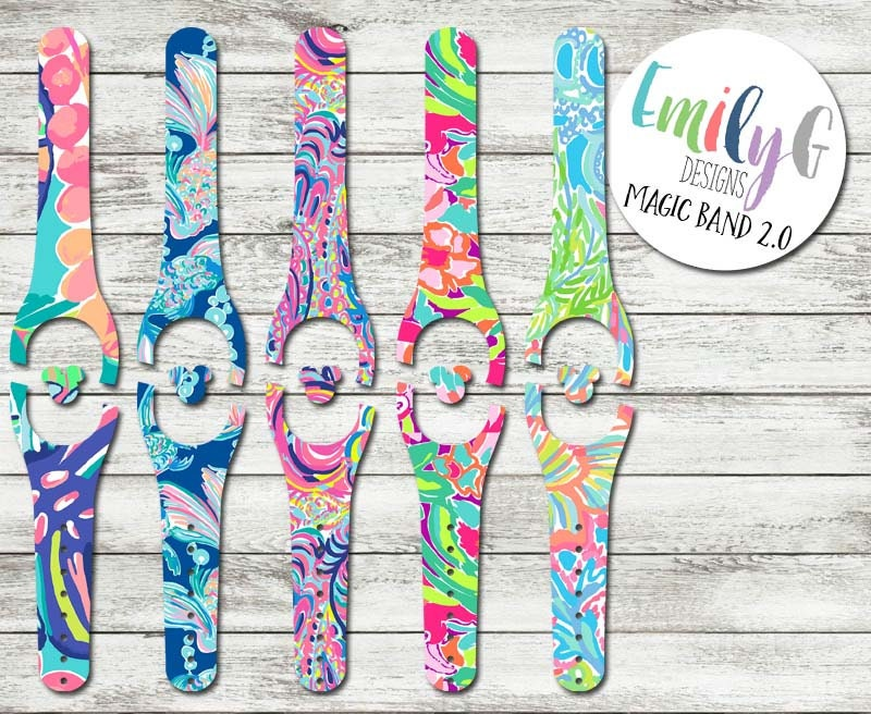 lilly pulitzer inspired disney magic band 2 0 decal or skin. Black Bedroom Furniture Sets. Home Design Ideas