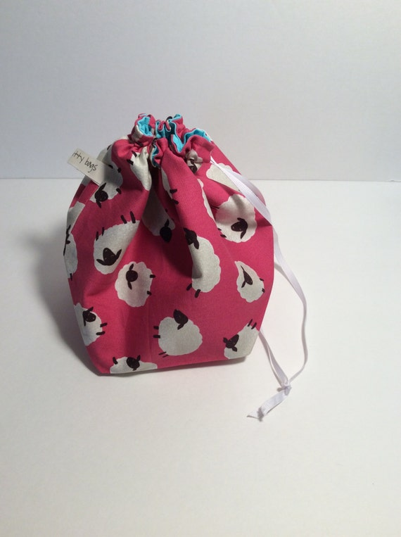 drawstring project bag, project bag, fabric bag, sheep fabric, sheep bag, knitting bag, crochet bag, drawstring bag
