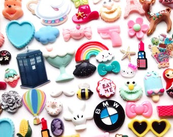 10/20/50 pcs kawaii random grab bag cabochons - craft supplies -  flatback decoden - premium quality - random mix - big - small -fake candy