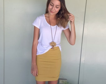 Mustard Pencil Skirt - Knit Pencil Skirt - Ruched Skirt - Jersey Pencil Skirt - Knit Skirt - Yellow Skirt -Ochre Skirt -Stretch Pencil Skirt