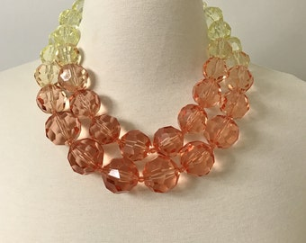 PONO Italy Transitional Orange & Yellow Iridescence Resin Two Strand Necklace