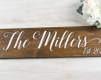 Bridal Shower Gift-  Last Name Sign-Rustic Wedding Decor- Anniversary Gift- Gift for Bride- Wedding Gift- Personalized Gift- Wedding Signage