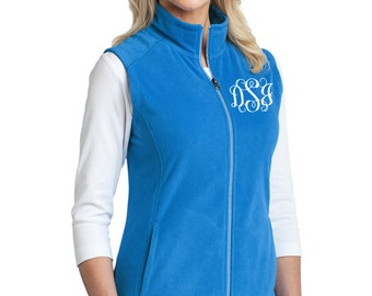 Monogram Fleece Vest - Ladies Fleece Vest - Personalized Ladies Vest - Great Christmas Gift - Plus Size Vest - Grey Vest