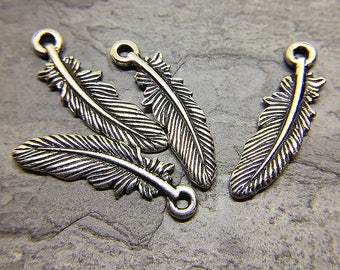 Feather Charms, TierraCast Silver Plated Ink Antiqued Charm, Silver Feather Charms, Boho Charms, Lead Free Pewter, 23mm - 4 charms (CH-12)