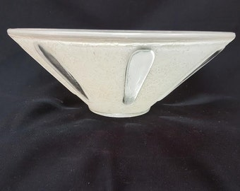 cream and clear  conical  light diffuser bowl for center post  flush mount    10 inch in diameter .