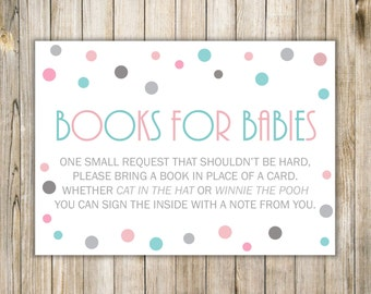 Digital BRING a BOOK Baby Shower, Pink Blue Silver Card Insert, BOOKS for Babies, Twins Twin Boy Girl Polka Dots Printable, Instant Download