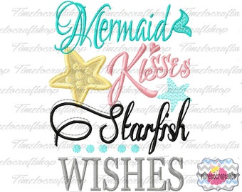 Mermaid kisses Starfish Wishes Embroidery Applique Design, dst, exp, hus, jef, pes, sew, vip, vp3, Digital INSTANT DOWNLOAD