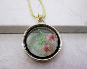 Cherry Blossom Pink Flower Necklace Real Pressed Flower Jewelry Dried Flower Necklace Terrarium Flower Necklace Flower Gift For Her Birthday