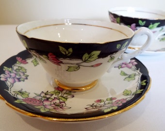 Vintage Black Teacup. Stanley China Vintage Tea Cup and Saucer. Hand Coloured Pink and Purple Flowers. Perfect for an Afternoon Tea Party