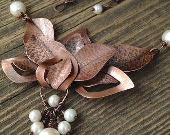Rustic copper necklace set, hand forged leaf design, white pearls, unique gift for her