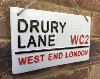 DRURY LANE-West End London-London Street Sign-Theatre-West End Show-Musicals-Theatre Royal-Covent Garden-Wall Sign-Acting-Music-Drama