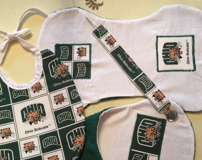 Baby Bib Gift Set Ohio University Inspired Fabric Bib, Burp Cloths and Pacifier Clip