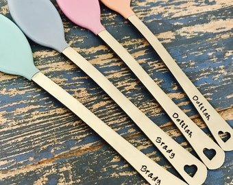 Set of 2 Hand Stamped Custom Baby Spoons Personalized with Names or Initials - Baby Shower - Gift - New Baby - Engraved - Heart - Girl Boy