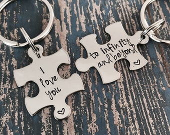 I love you to infinity and beyond Puzzle Piece Key Ring Set - Keychain - Boyfriend Gift - Valentine's Day - Girlfriend Gift - Anniversary