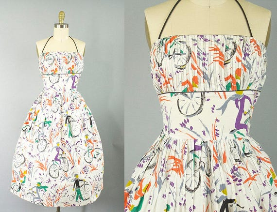 1950s novelty print cotton sundress/ 50s bicycle print halter/ L'aiglon/ extra small xs