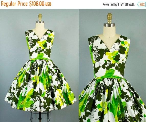 SALE 15% STOREWIDE 1950s green floral sundress/ 50s tropical day dress/ small