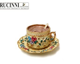 Rucinni Trinket Jewelry Box,Rucinni Tea cup Saucer Trinket Box,Jewelry Box, Swarovski crystal gold floral design,Miniature Ring Box-101