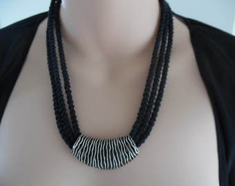 Black Three Stranded Kumihimo Braided Necklace & Pendant