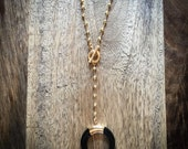 crescent bone HORN with wire rosary beads • gold long necklace//