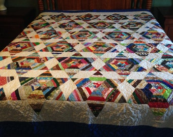 Scrappy star  queen size handmade quilt with pillow shams