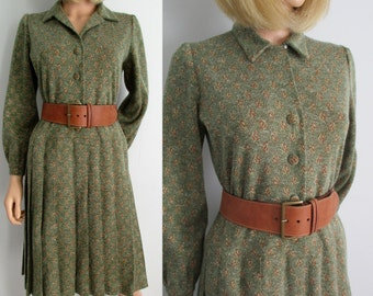 Wool winter shirt dress, green patterned, french vintage retro, knee length, long sleeves, pleated skirt, handcrafted, medium large