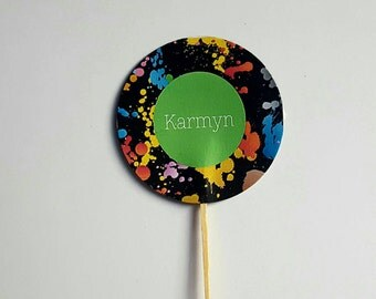 Paint cupcake toppers personalized paint splatter party 10 count 2 inches pick name and age