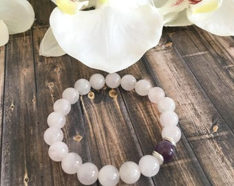 Rose Quartz Amethyst Beaded Bracelet, Handcrafted Gifts for Her, Healing Crystals, Gemstone Jewelry, Birthday Gift Ideas