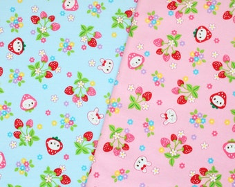 fat eighth, fat quarter, 1/2 meters / Japanese fabric / kawaii fabric / strawberry fabric / spring fabric / bunny fabric /