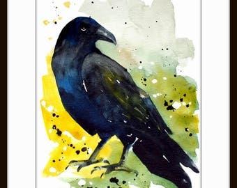 Crow, Original watercolor painting, Art print from my original watercolor painting,Crow lover art, Crow wall art, raven
