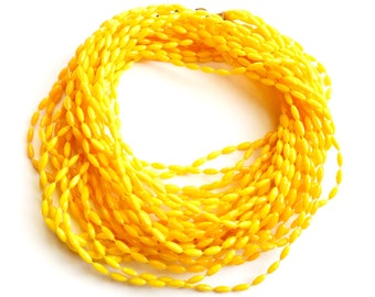 Vintage Yellow Multistrand Necklace Long Fixed Bead Faceted Plastic Sunny Bright Versatile Flapper Length