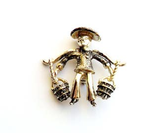 Vintage Asian Man Brooch Water Carrier Oriental Orient Black Silver Painted Pin Broach Figural