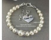 Flower Girl Bracelet White Pearl Bracelet Swarovski Bracelet Gift from Bride Bridal Party Jewelry Flower Girl Gift from Aunt Wedding Jewelry