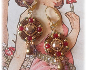 Earrings Collection Antique, gold, red garnet, inspiration medieval, renaissance