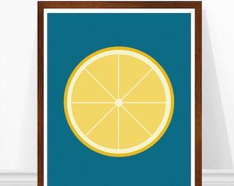 Lemon Art Print - Kitchen Print Poster - Teal Kitchen Art - Mid Century Modern - Retro Kitchen Art - Home Decor - Scandinavian Lemon Print