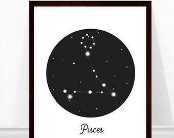 Pisces Constellation Print, Zodiac Art Print, Astronomy Art, Constellations, Modern Art Print