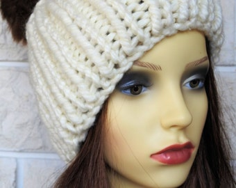 Hand Knitted Cream Winter Hat With Brown Pompom - Free Shipping