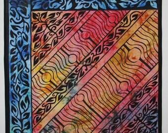 Art quilt wall hanging, fire & water, abstract quilt, Colorful art wall decor, living room decor, original fiber art, crazy quilt for sale
