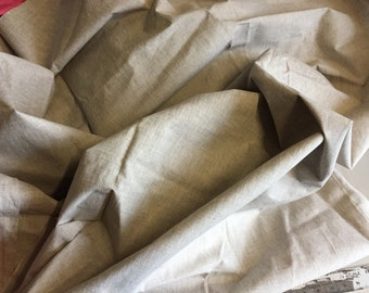 """100% Linen Fabric, Beige, 1 1/2 yard piece, incredible weight with a waterproof backing, 59"""" wide"""