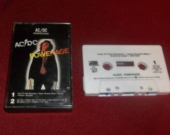 ACDC Powerage Cassette Tape  Classic Heavy Metal Angus Young, Sin City, Bon Scott,
