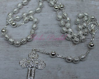 FAST SHIPPING!! Handcrafted Beautiful Wedding Silver Rosary, Wedding Rosary, Rosary Wedding Gift