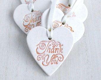 10 Thank You Wedding Favour Tags, Heart Gift Tag, White Clay Heart Ornaments,  Wedding Memento, Keepsake Hanging Decoration