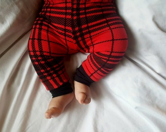 Plaid baby leggings, red plaid baby clothes, unisex baby leggings, gender neutral baby clothing, baby gift, baby boy clothes