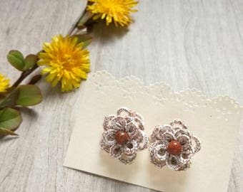 Rose earrings, handmade copper, white-cotton tatting with Sunstone