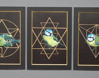 Set of 3 Gold Sacred Geometry Blue Tits Mounted Prints