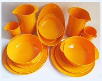 Rosti Mepal set Yellow Melamine Mixing bowls & Jug Danish Sigvard Bernadotte