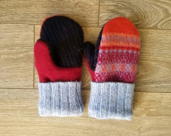Orange Patterened Sweater Mittens //LoveWoolies Mittens //Fleece Lined
